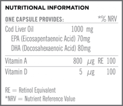 Cod Liver Oil 1000mg Nutritional Information
