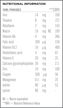 Once A Day Iron Plus Liquid Nutritional Information